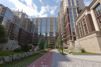 """Tour of the courtyard of the  residential complex """"Renaissance"""""""